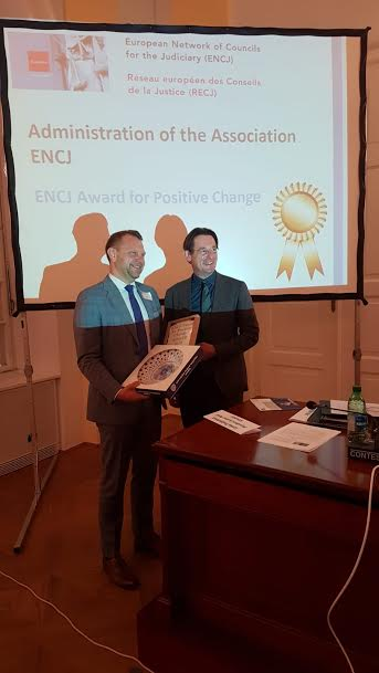 Mr. Meilutis receiving the award on behalf of TT Lithuania