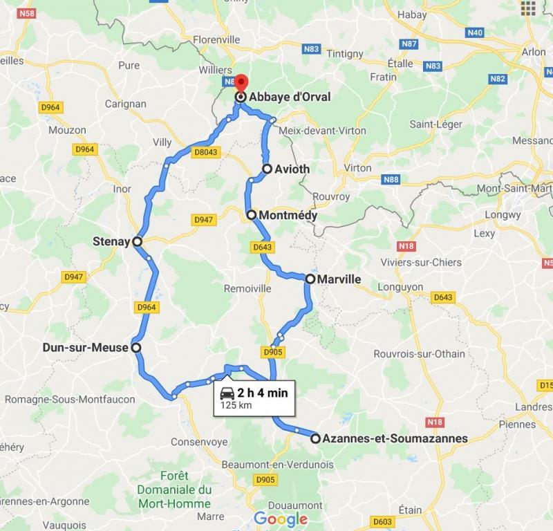 Carte de la boucle en Meuse